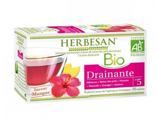 Herbesan Bio Infusion Drainante Saveur Mangue n°5 - 20 sachets